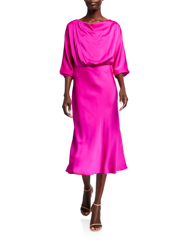 Milly Dresses DIA COWL-NECK 1/2-SLEEVE STRETCH SILK MIDI DRESS
