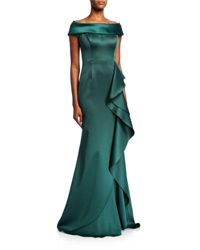Cuffed Off-the-Shoulder Satin Trumpet Gown w/ Side Ruffle