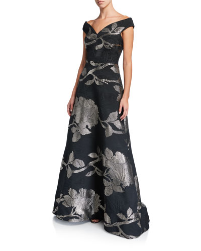 Floral Metallic Jacquard Off-the-Shoulder A-Line Gown