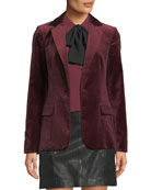 FRAME Classic One-Button Velvet Blazer and Matching Items