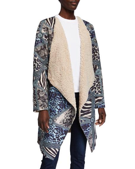 Alberto Makali Animal Print Faux Shearling Easy Jacket