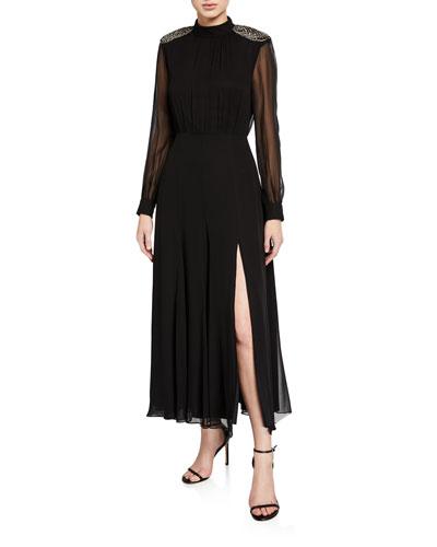Jacqui Embellished Long-Sleeve Slit Dress