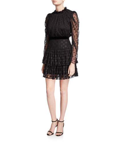 Ava Tiered Dot Jacquard Long-Sleeve Dress