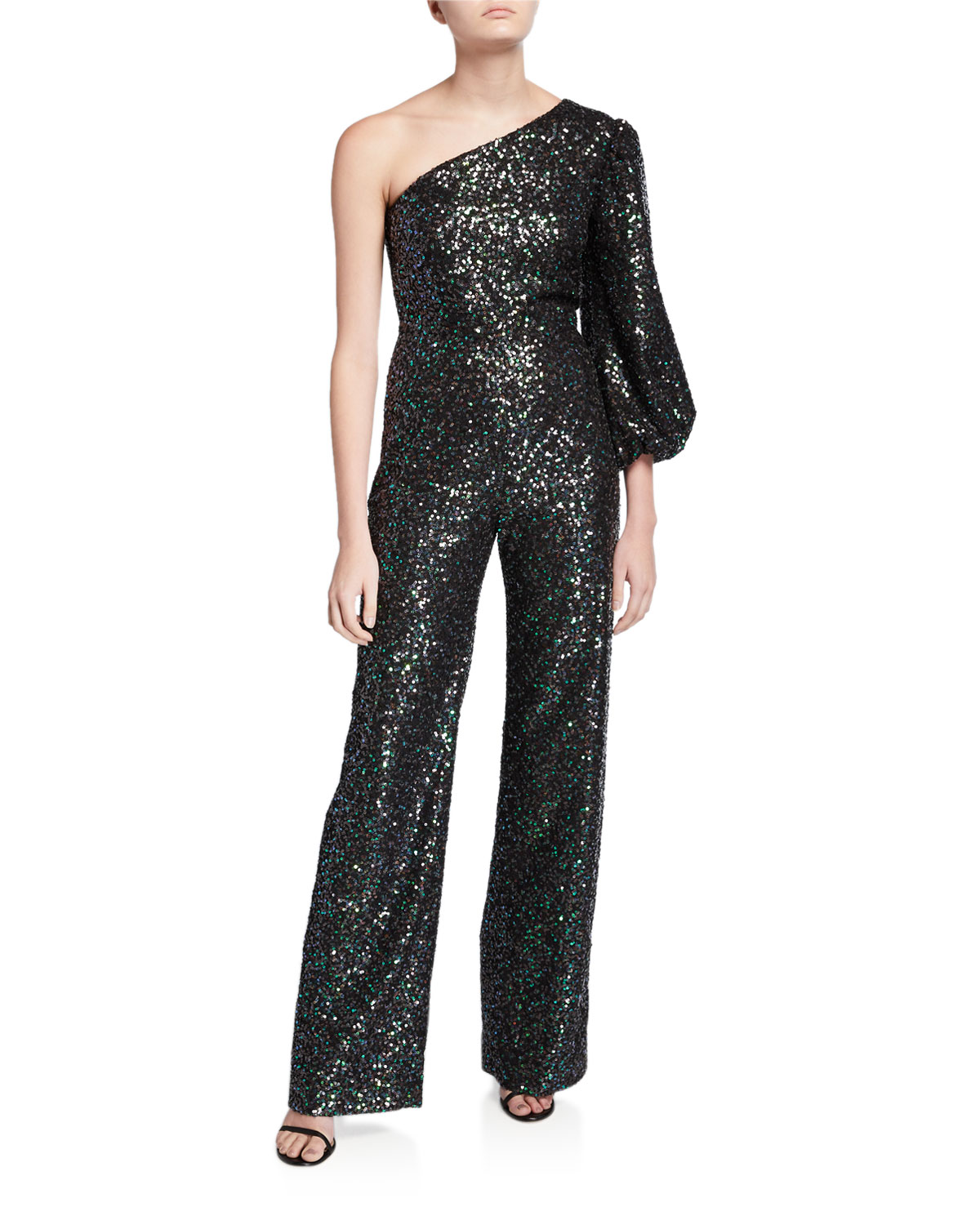 Saloni Suits LILY ONE-SHOULDER SEQUINED JUMPSUIT