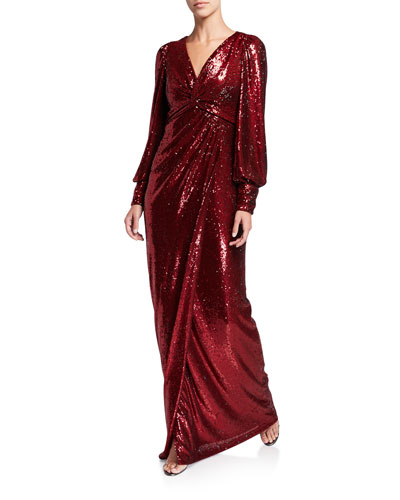 Sequin V-Neck Long-Sleeve Shirred Empire Waist Gown