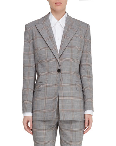 Vincenza Plaid One-Button Jacket