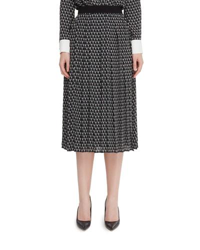 Vesuvius Pleated A-Line Skirt