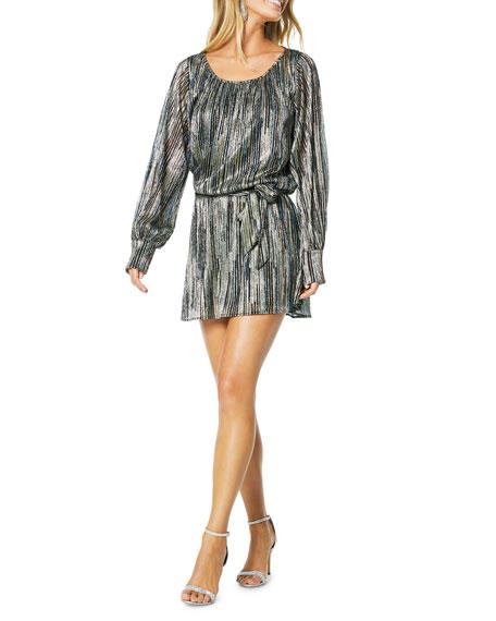 Ramy Brook Jordan Long-Sleeve Metallic Short Dress