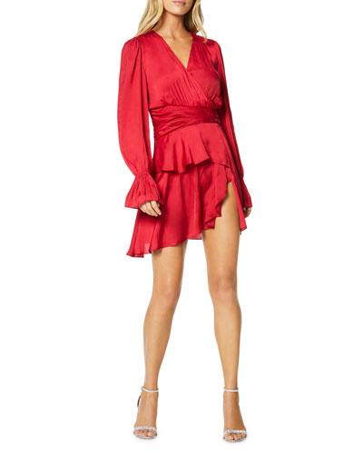 Roman Long-Sleeve Tiered Flounce Dress
