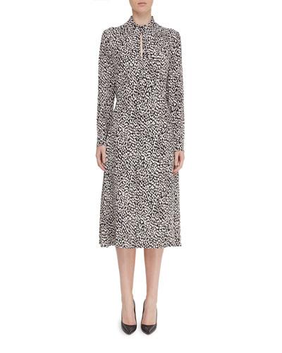 Rimini Printed Mock-Neck Long-Sleeve Keyhole Midi Dress