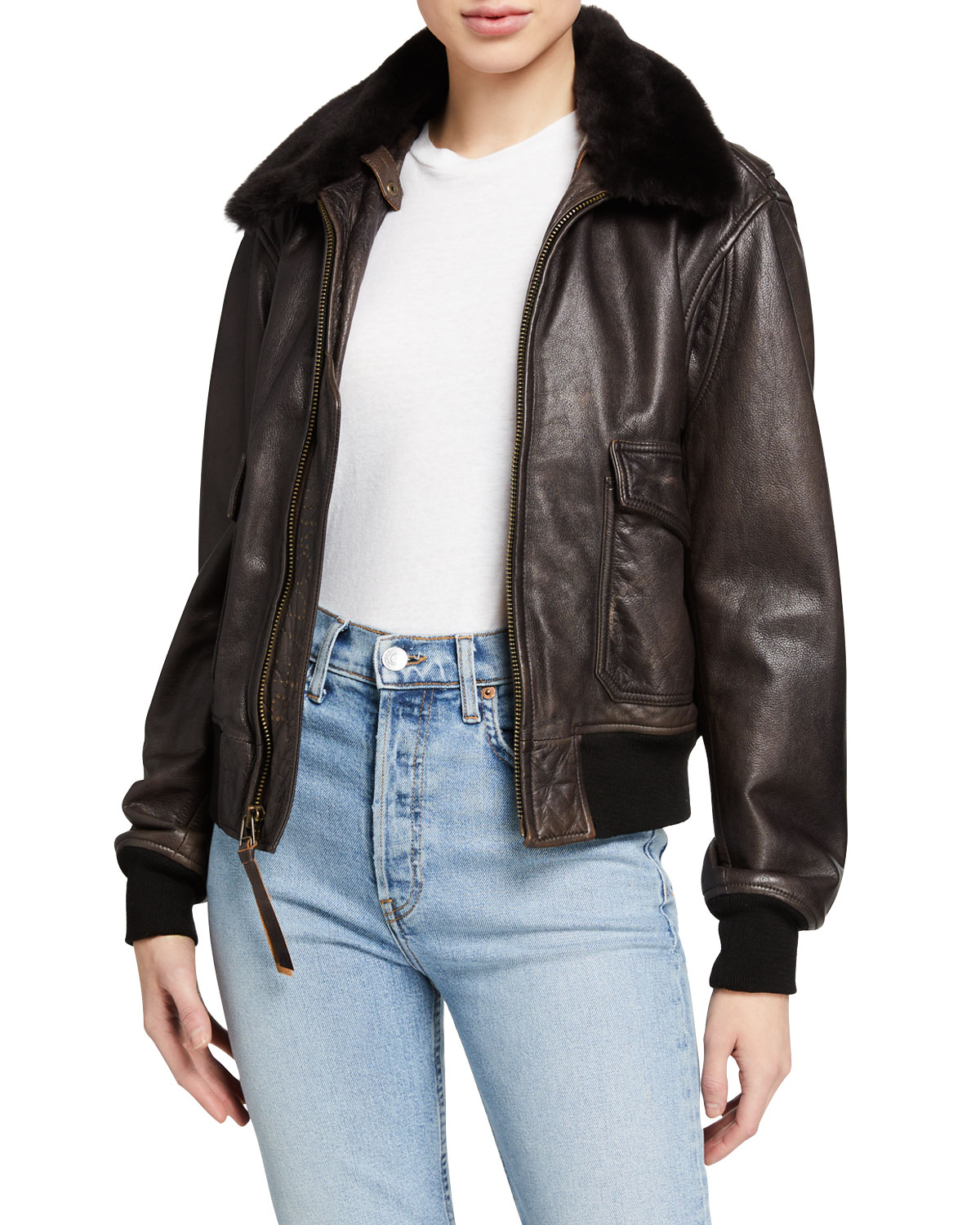 Re/done Jackets 40S LEATHER FLIGHT JACKET W/ FUR COLLAR