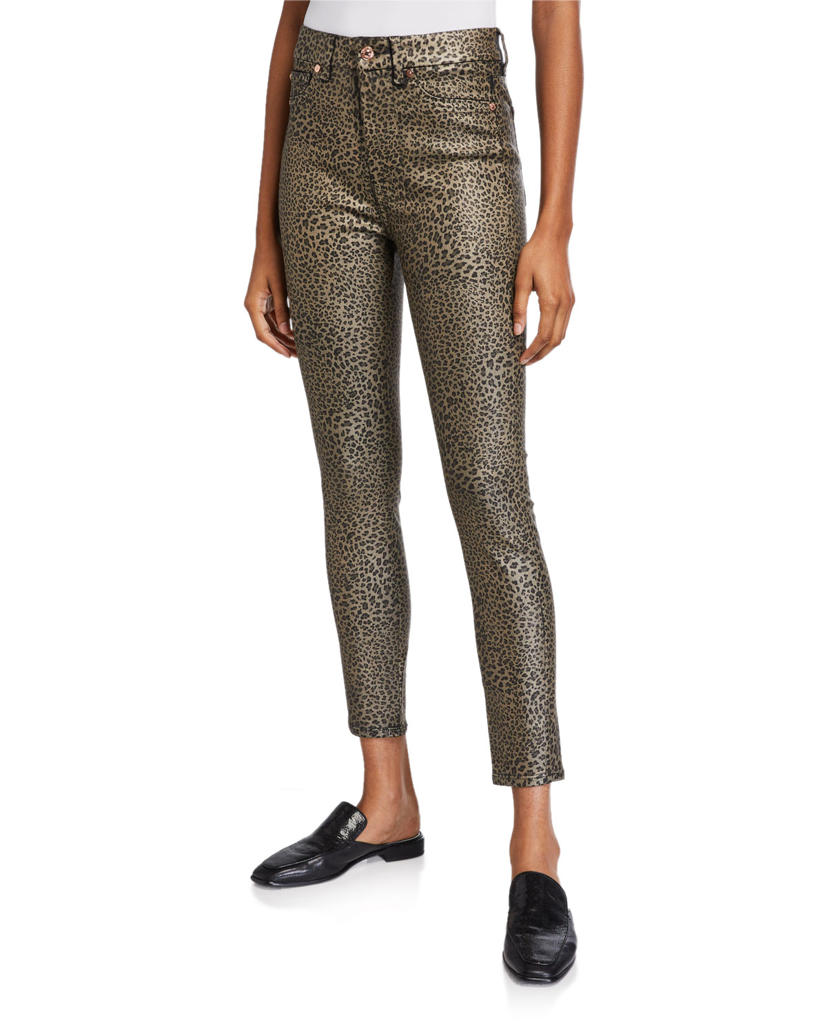 7 For All Mankind High-Waist Coated Ankle Skinny Jeans In Leopard