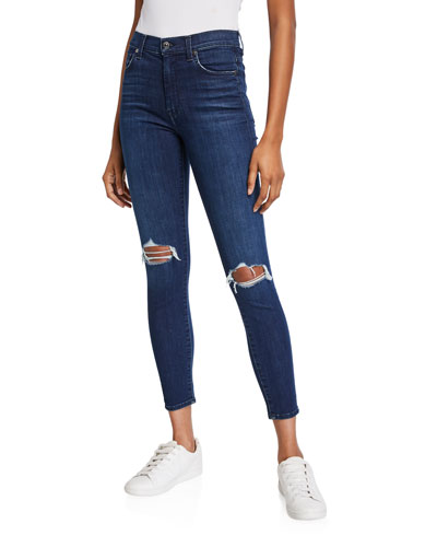 High-Waist Distressed Ankle Skinny Jeans
