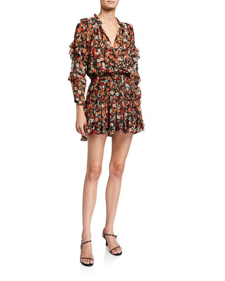 MISA Los Angeles Rizou Floral-Print Short Dress