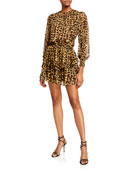 MISA Los Angeles Katia Leopard-Print Ruffle Long-Sleeve Dress