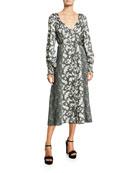 cinq a sept Jessica Long-Sleeve Printed Midi Dress