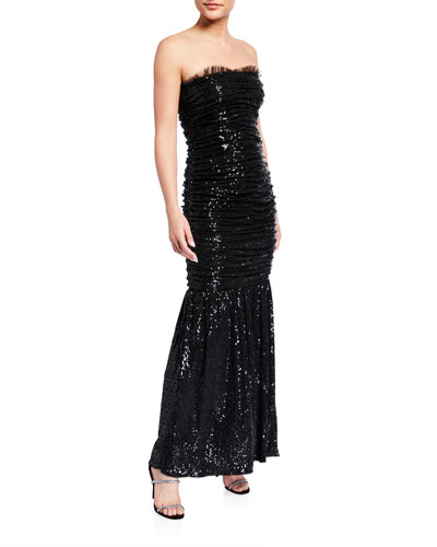 Ruched Sequin Knit Strapless Dress