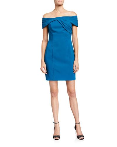 Twist-Front Off-the-Shoulder Crepe Cocktail Dress