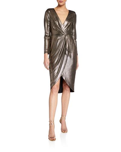 Foiled Jersey Draped Long-Sleeve Dress