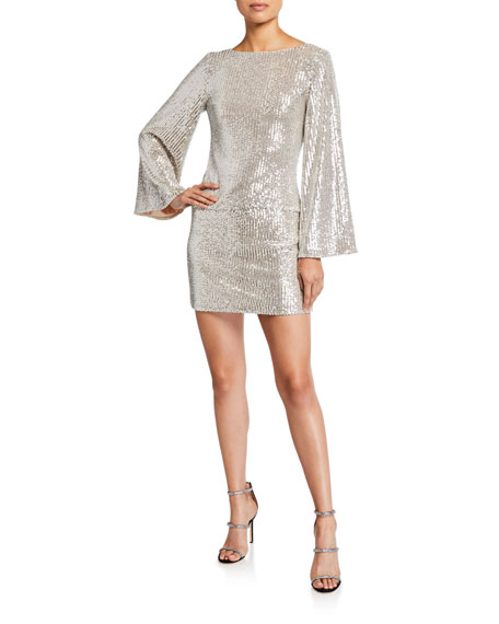 Mestiza New York Anita Sequin Cowl-Back Mini Dress