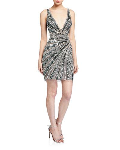 Beaded V-Neck Sleeveless Short Dress