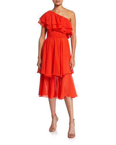 Hannah One-Shoulder Tiered Ruffle Midi Dress