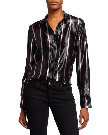 RtA Blythe Striped Metallic Button-Down Shirt