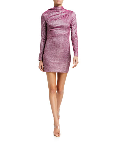 Harper Cowl-Neck Metallic Cocktail Dress