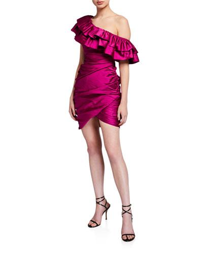 Jolene Shirred One-Shoulder Mini Satin Ruffle Dress