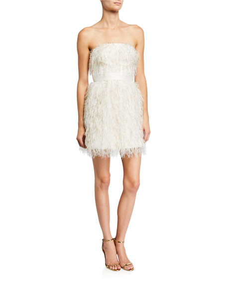 Jay Godfrey Remi Metallic Feather Bustier Mini Dress