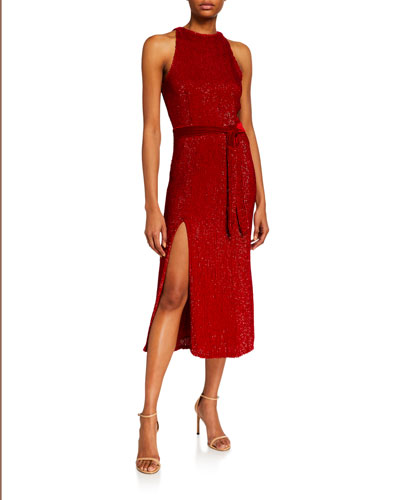 Tilly Sequined High-Neck Cocktail Dress