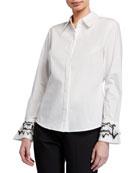 Natori Cotton Poplin Long-Sleeve Blouse