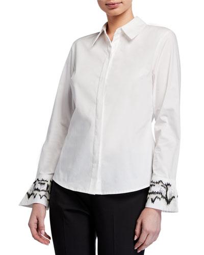 Cotton Poplin Long-Sleeve Blouse