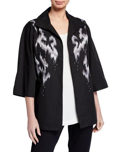 Abstract Printed 3/4-Sleeve Taffeta Jacket