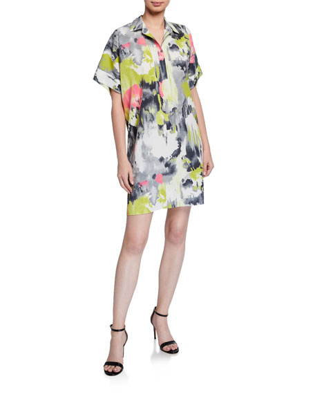 Natori Watercolor Printed Short-Sleeve Relaxed Dress
