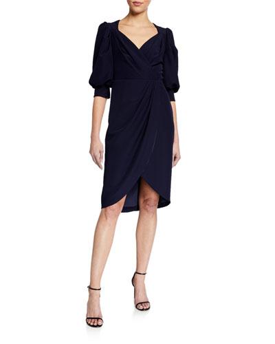 Puff-Sleeve Faux-Wrap Crepe Dress