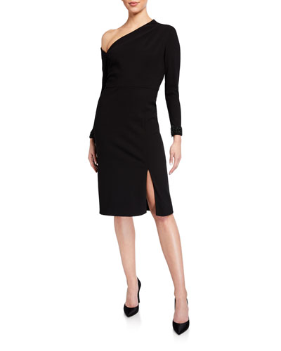 Asymmetrical Long-Sleeve Crepe Cocktail Dress