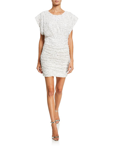 Isobel Sequin Draped Bodice Shirred Mini Dress