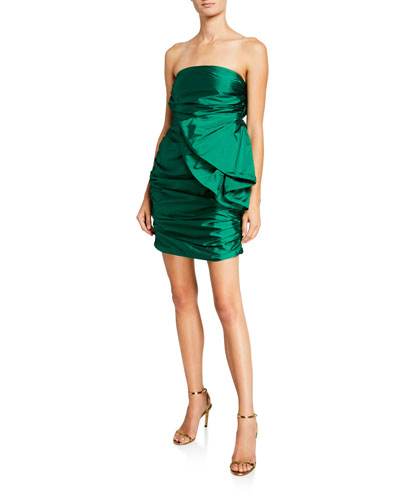 Brody Strapless Shirred Mini Dress with Bow