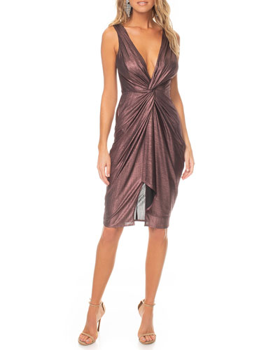 Sass Metallic Sleeveless Deep V-Neck Knotted Dress