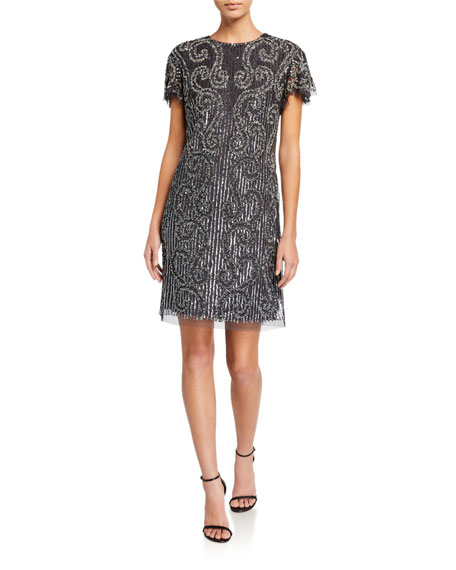 Aidan Mattox Short-Sleeve Beaded Cocktail Dress
