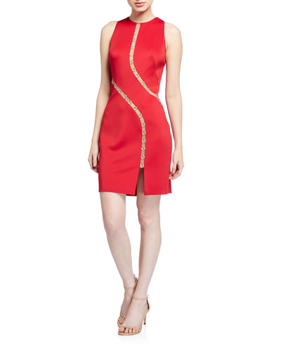 Sleeveless Neoprene Dress w/ Mesh Inserts