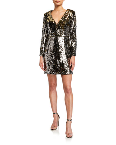 Sequin V-Neck Long-Sleeve Mini Dress