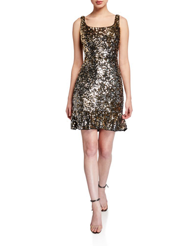 Sequin Flounce Hem Tank Cocktail Dress