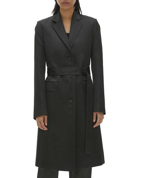 Helmut Lang Satin Button-Front Coat