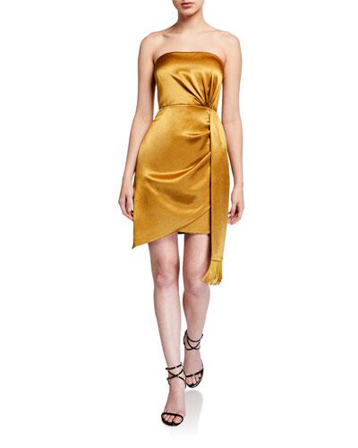 Strapless Liquid Satin Mini Cocktail Dress w/ Side Drape Detail