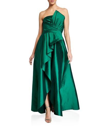 Callie Strapless Taffeta Gown w/ Pleat Detail & Draped Skirt