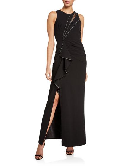 Parker Black Ella Sleeveless Stretch Crepe Gown w/ Crystal Trim