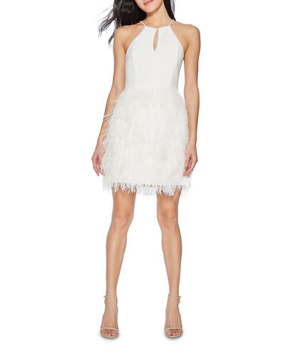 Donna Feather Skirt Mini Halter Dress w/ Crystal Trim
