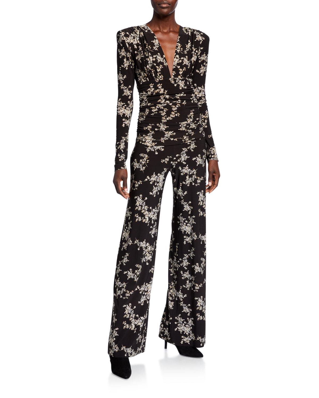 Norma Kamali Suits PRINTED V-NECK LONG-SLEEVE SHIRRED-WAIST JUMPSUIT